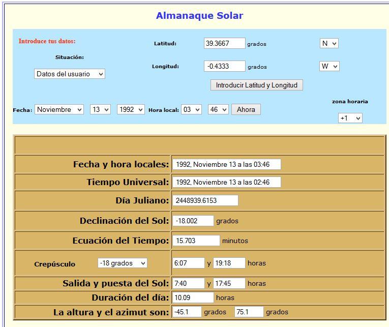 Almanaque Solar Alcàsser 13 Noviembre 1992